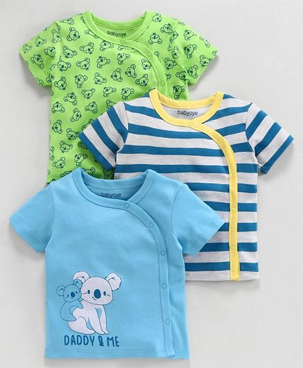 Babyoye Cotton Half Sleeves Jhabla Vest Koala Print - Green Blue