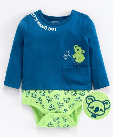Babyoye Full Sleeves Cotton Onesie Koala Print - Blue Green