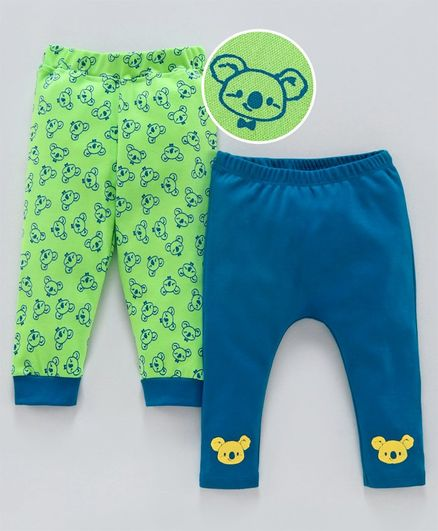 Babyoye Cotton Full Length Lounge Pants Koala Print Pack of 2 - Green Blue
