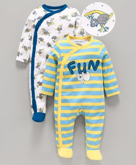 Babyoye Cotton Full Sleeves Striped Footed Sleepsuit Koala Print Pack of 2 - Blue White