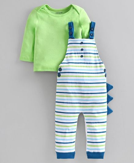 Babyoye Striped Cotton Dungaree & Full Sleeves Tee - Green White