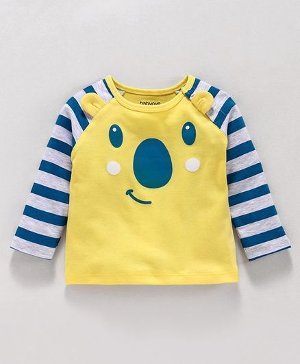 Babyoye Raglan Sleeves Cotton Tee Bear Design - Yellow Grey