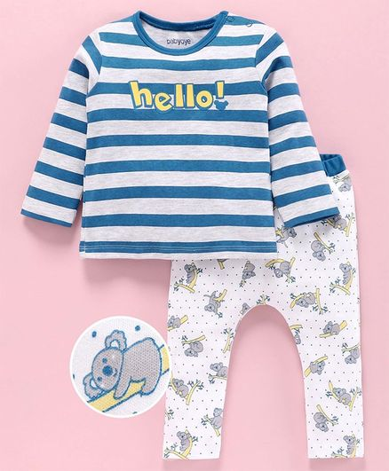 Babyoye Full Sleeves Tee & Bottom Set Koala Print  -  White Blue