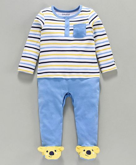 Babyoye Cotton Full Sleeves Striped Footed Sleepsuit - Blue