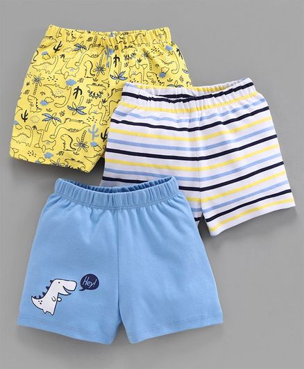 Babyoye Cotton Shorts Dino Print Pack of 3 - Yellow Blue