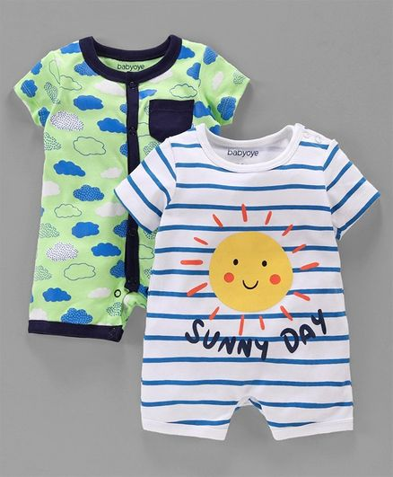 Babyoye Short Sleeves Cotton Rompers Cloud & Sun Print Pack of 2 - Green White