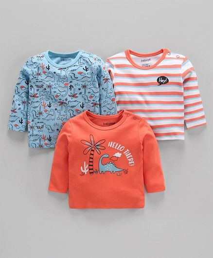 Babyoye Cotton Full Sleeves Tees Dino Print  Pack of 3 - Blue Orange White