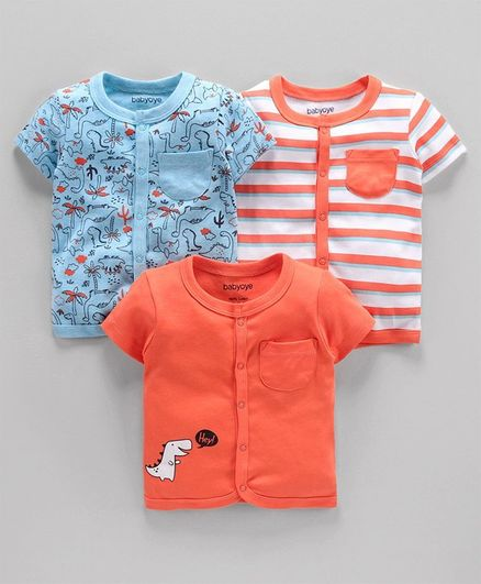 Babyoye Cotton Short Sleeves Vests Multiprint Pack of 3 - Blue White Orange