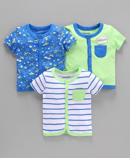 Babyoye Cotton Short Sleeves Vests Pack of 3 - Light Green White Royal Blue
