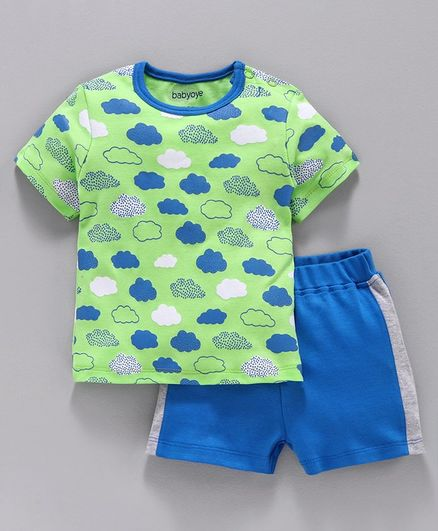 Babyoye Cotton Half Sleeves Tee Cloud Print - Lime