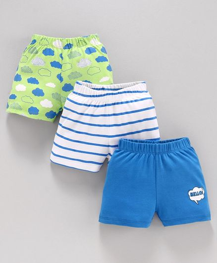 Babyoye Cotton Shorts Striped & Printed Pack of 3 - Green White Blue