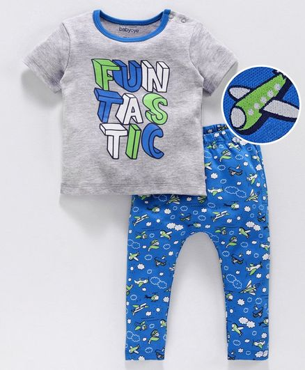 Babyoye Half Sleeves Cotton Tee and Diaper Pants Funtastic Print - Grey Blue