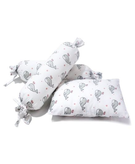 The White Cradle Cot Pillow and 2 Bolsters Set with Fillers Whale Print - Grey