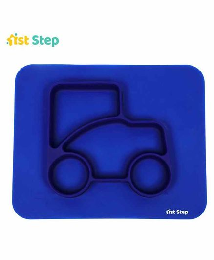 1st Step 100% Silicone Sectioned Plate - Blue