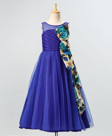 PinkCow Sleeveless Flower Print Detailing Flared Gown - Blue