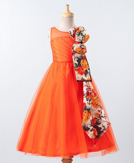 PinkCow Sleeveless Flower Print Detailing Flared Gown - Orange
