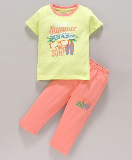 Ohms Half Sleeves Tee and Lounge Pant Text Print - Yellow Orange
