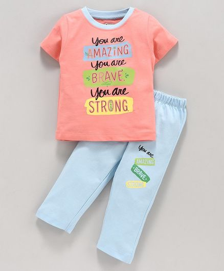 Ohms Half Sleeves Tee and Lounge Pant Text Print - Orange Blue