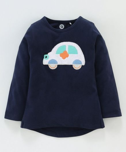 Jus Cubs Car Patch Full Sleeves Tee - Navy