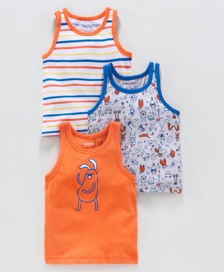Babyoye Sleeveless Striped & Printed Vest Pack of 3 - Orange Blue White