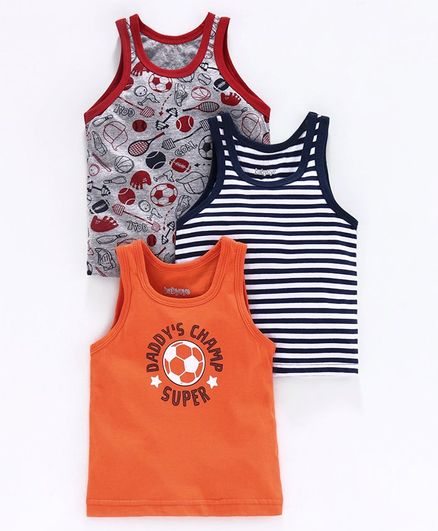 Babyoye Sleeveless Vests Striped & Printed Pack of 3 - Grey Black Orange