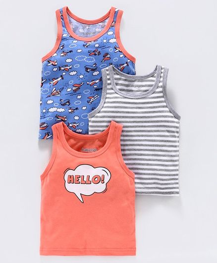 Babyoye Sleeveless Vests Striped & Printed Pack of 3 - Blue Grey Peach