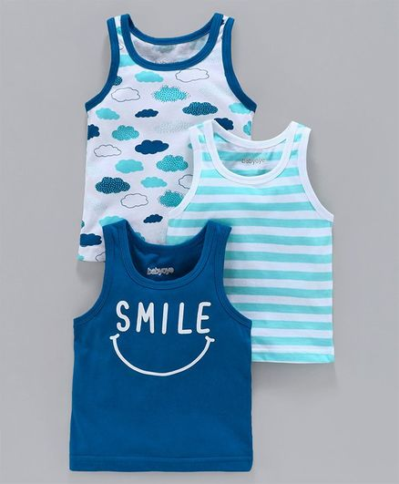 Babyoye Sleeveless Cotton Vests Striped & Printed Pack of 3 - Blue