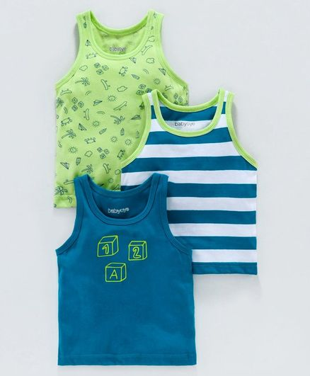 Babyoye Sleeveless Printed & Striped Vest Pack of 3 - Green Blue