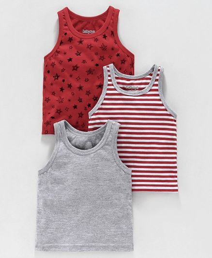 Babyoye Sleeveless Cotton Mixed Vests Solid Color Striped & Printed Pack of 3 - Grey Maroon