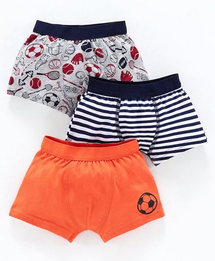 Babyoye Cotton Trunks Striped & Printed Pack of 3 - Orange Grey Multicolor
