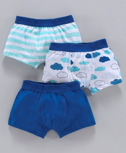 Babyoye Cotton Trunks Striped & Printed Pack of 3 - Blue White