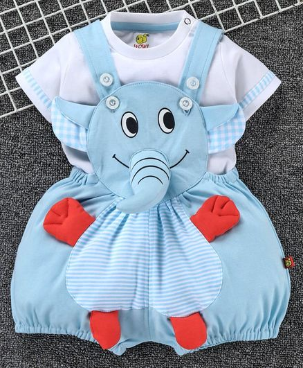 Wow Clothes Dungaree With Half Sleeves T-Shirt Elephant Design - Blue White