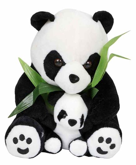 Planet of Toys Panda With Baby Soft Toy White Black - Height 25 cm