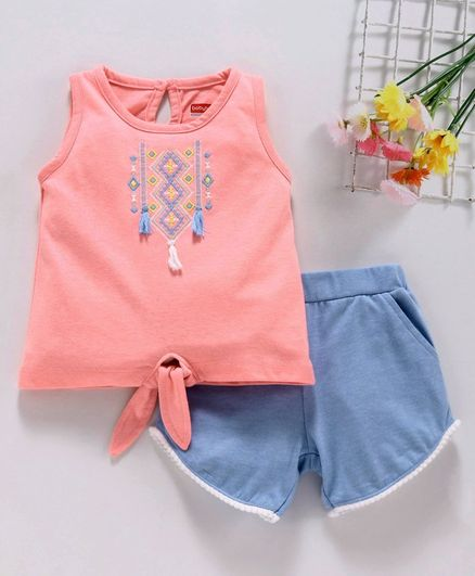 Babyhug Sleeveless Embroidered Top & Pom Pom Lace Shorts - Pink Blue