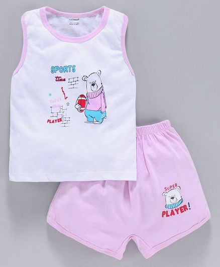 Cucumber Sleeveless Tee & Shorts Bear Print - Pink White