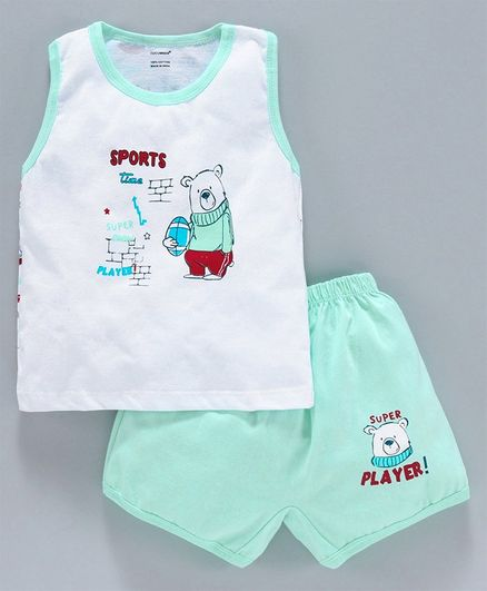 Cucumber Sleeveless Tee & Shorts Bear Print - Green White