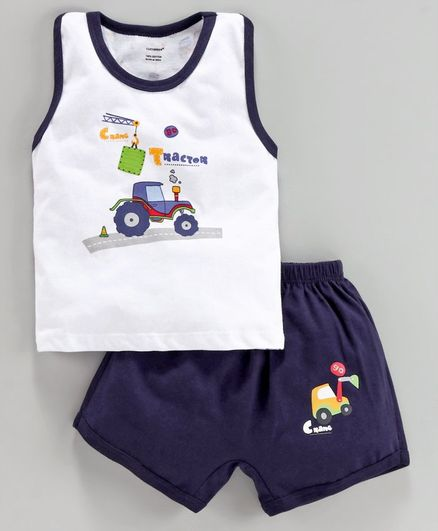 Cucumber Sleeveless Tee & Shorts Tractor Print - White Blue