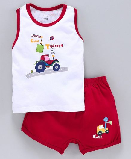 Cucumber Sleeveless Tee & Shorts Vehicle Print - Red White