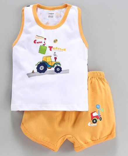 Cucumber Sleeveless Tee & Shorts Vehicle Print - Yellow White