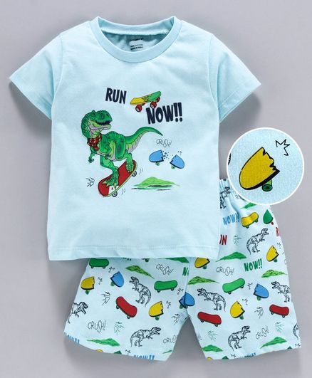 Cucumber Half Sleeves Tee & Shorts Dino Print - Green