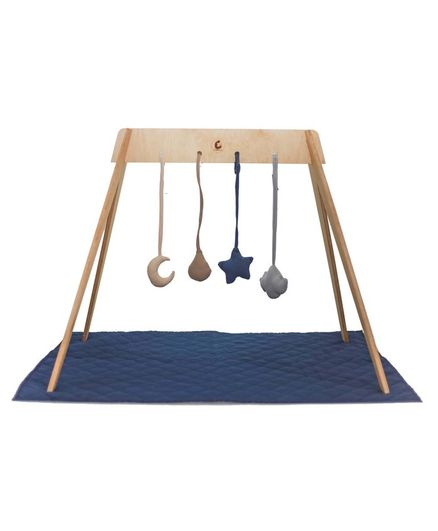 CuddlyCoo Wooden Convertible Play Gym cum Tent - Blue