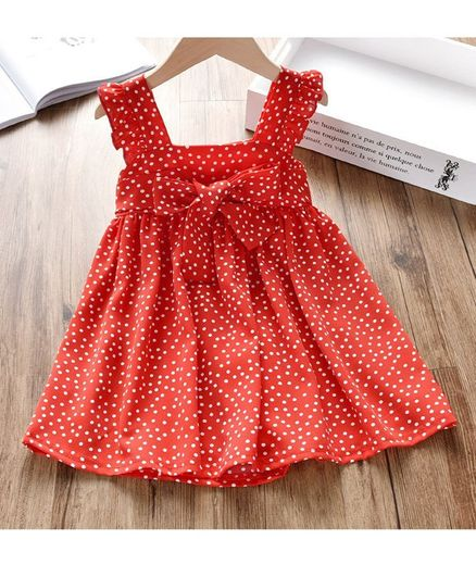 Kookie Kids Flutter Sleeves Polka Dot Frock - Red