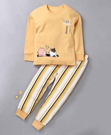 Kookie Kids Full Sleeves Night Suit Kitten Print - Yellow