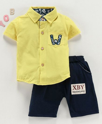 Kookie Kids Short Sleeves Solid Color Shirt with Shorts - Yellow Blue