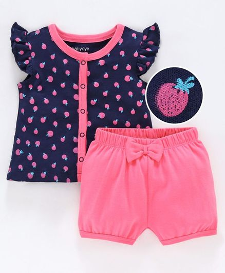 Babyoye Cotton Short Sleeves Top & Shorts Set Strawberry Print - Pink Navy