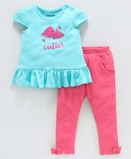 Babyoye Cap Sleeves Cotton Top and Bottom Watermelon Print - Pink Blue
