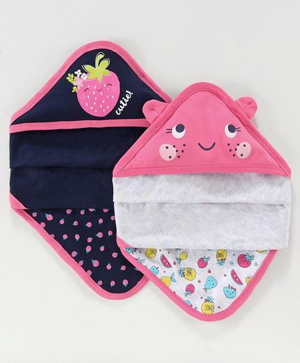 Babyoye Cotton Hooded Wrapper Strawberry Print Pack of 2 - Pink Blue