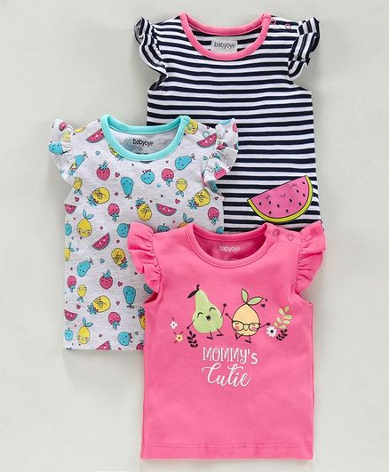 Babyoye Flutter Sleeves T Shirts Fruit Print Pack of 3 - Pink
