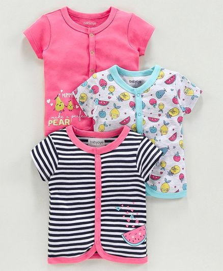 Babyoye Cotton Half Sleeves Jhabla Vest Fruits Print Pack of 3 - Pink Grey Blue