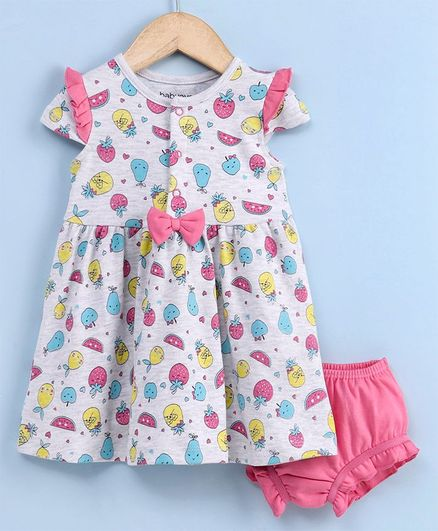 Babyhug Flutter Sleeves Frock with Bloomer Fruit Print - White Pink
